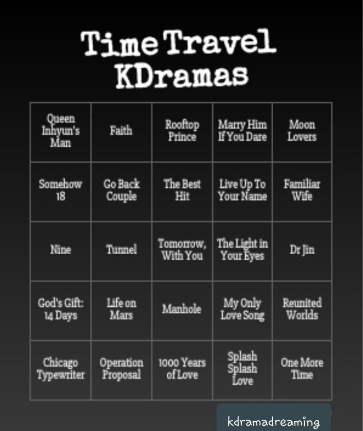 Time Travel Kdrama Bingo Kdrama Dreaming